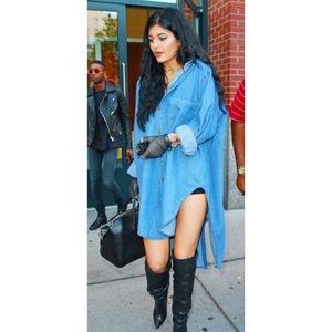 High Low Kylie Jenner Chambray Denim T-shirt Dress